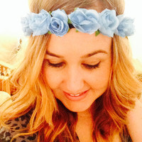 Light Blue Roses Flower Crown - Floral Crown, EDC Flower Crown, Flower Headband, Blue flower crown