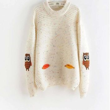Knitted Round Neck Owl Character Women Sweater Pullover