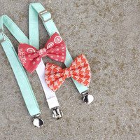 Baby suspender and Bow Tie Set-size 3 month-18 month-CHOOSE BOW TIE--Mint-Coral-Orange-Houndstooth