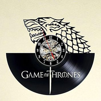 LED Record Wall Clock Winter is Coming Vinyl Record Clock Game of Thrones Hanging Wall Clock Birthday Gift Home Decor