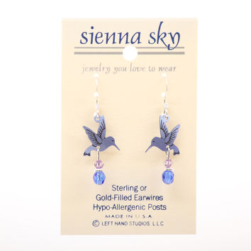 Sienna Sky Hummingbird Painted Lavender W/Bead Earrings