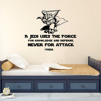 Star Wars Wall Decal Quote Yoda A Jedi Uses The Force - Never For Attack- Wall Decal Star Wars Boys Room Bedroom Dorm Wall Art Quotes Q265