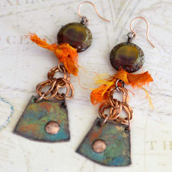 Boho Earrings, Rustic Earrings, Copper Enamel Earrings with Czech Glass and Silk Sari Ribbon, Fun Summer Earrings, Textile Jewelry, SRAJD
