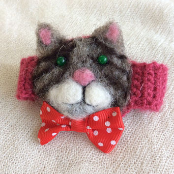 Needle felted Cat Kitten animal bracelet tabby girls crochet jewelry feltted pink free shipping cute unique    gift one of a kind OOAK USA