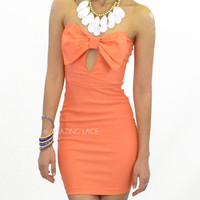 Big Bow Marilyn Dress Coral Strapless