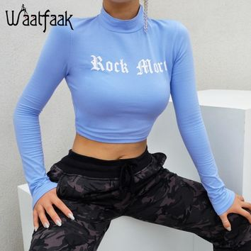 Waatfaak Cotton T Shirt Women Long Sleeve Letter printed Kawaii Crop tshirt Bodycon Autumn Fashion Blue Top Casual  Stand Collar