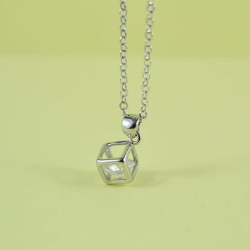 Cube Cubic Zirconia Charm Necklace,  Rhodium Plated Brass Pendant, Delicate Chain, Everyday Wear, Perfect Gift