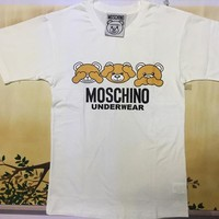 "Moschino White ""Three Bears"" Fashion Women T Shirt"