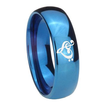 8mm Music & Heart Dome Blue Tungsten Carbide Mens Ring Personsized