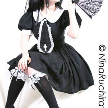Gothic Lolita Dress Cute Cosplay Black Schoolgirl Dress
