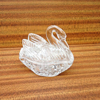 Vintage Beautiful Clear Glass Swan Trinket Box, Glass Jewellery box, UK Seller
