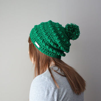 Women's Winter Hat - Crochet Knit Pom Pom Slouchy Beanie - Emerald Green (Made To Order)