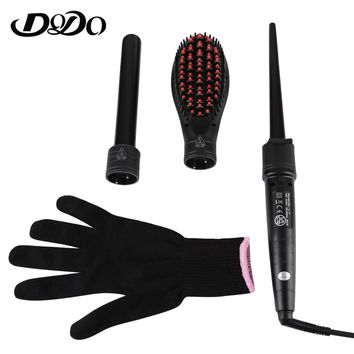 DODO Brand Electric 3 in 1 Multifunction Ceramic Curling Iron Hair Curler 3 Interchangeable Roller Wand and Straightening Comb
