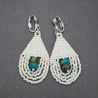 Eggshell And Blue Clip-on Earrings