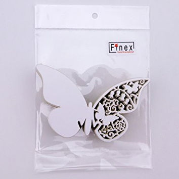 Finex 100pcs Die-Cut Butterfly Place Card Table Mark Wine Glass Name Place Cards Wedding Party Favor *100pcs* (white)
