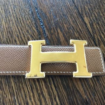 Brown Leather Hermes Belt With large Gold H Buckle 70cm