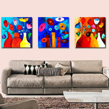 BPAGO 3 Panel Psychedelic Modern Abstract Colorful Oil Painting Flower Vase Christmas Ornaments for the House Unframed and Cheap