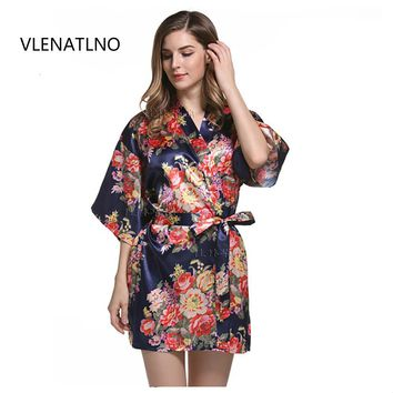 Bohemian  Silk Bridesmaid Bride Robe Women Short Satin Wedding Kimono Robes Sleepwear Nightgown Dress Woman Bathrobe Floral robe