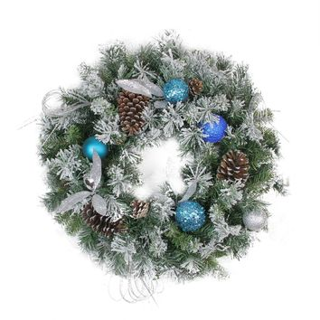 "24"" Teal and Silver Ball Flocked with Pine Cones Artificial Christmas Wreath - Unlit"