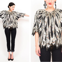 80s Metallic Silver Sequin Beaded Silk Draped Trophy Blouse / Scalloped Hem Party Cocktail Statement Top S / M