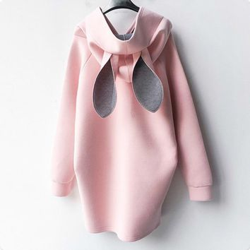Pink Maternity Hoodies Cute Rabbit Ears Hat Hooded Long Winter Warm Clothes for Pregnant Women Outerwear Mother Coats 2018