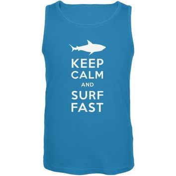 LMFCY8 Shark Keep Calm and Surf Fast Turquoise Adult Tank Top