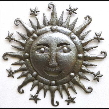 "Metal Wall Decor - 24"" Handcrafted Sun - Haitian Recycled Steel Drum Metal Art Wall Hanging - Haitian Metal Wall Art Sun Design - 4204-24"
