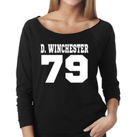 Dean Winchester DOB Slouchy T-Shirt | Supernatural T-Shirt | Date of Birth | Next Level Ladies Raw Edge 3/4 Raglan Slouchy Tee