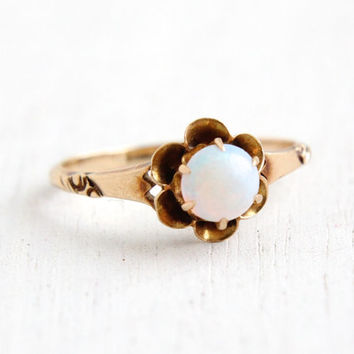 SALE- Antique 10K Yellow Rose Gold Opal Ring- Vintage Size 7 Late 1800s Victorian Edwardian Solitaire Fine Jewelry