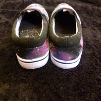 Custom Painted Shoes Space with Galaxy and Comet Men's Size 10.