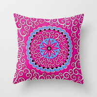 Floral Swirl Throw Pillow by PeriwinklePeacoat