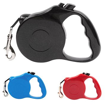 3m Retractable Leash Dog Training Leashes Lead One-handed Lock Training Lead Puppy Rope Walking Nylon Leash Collar for Dogs Cats