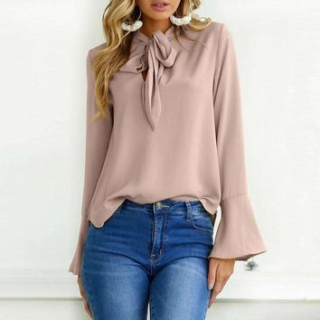 2018 Oversized CELMIA Women Solid Long Flare Sleeve Lace Up Bow Tie Loose Chic Pullover Fashion Leisure Baggy Party Brief Blouse