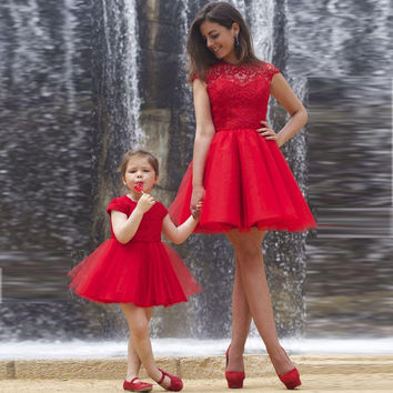 Set Dresses dress For graduation Mother And Daughter Cute Cap Sleeve Mini Red Short Prom Dresses 2017