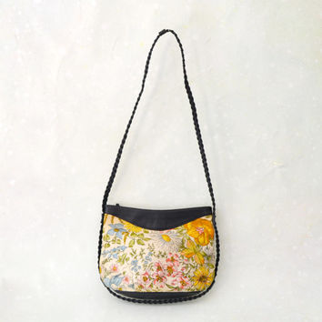 1970's Life Goes On Bag // Floral Printed Purse with Braided Strap // Vegan