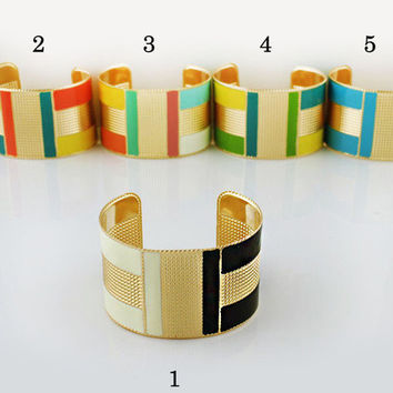 Color Block Cuff Bangle Bracelet