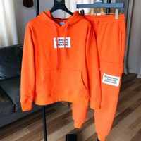 BURBERRY Autumn Winter High Quality Fashion Hoodie Sweater Pants Trousers Set Two-Piece Sportswear Orange