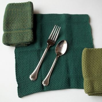 Dishcloths Knit in Cotton by The Needle House In Creeper and Forest