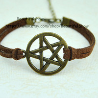 Supernatural inspire bracelet,Brown Leather cord Bracelet Antique Cute Personalized Charm Jewelry Gift -C 1540