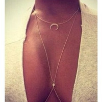 Gift Jewelry New Arrival Shiny Strong Character Sexy Stylish Diamonds Body Chain Necklace [7241150983]