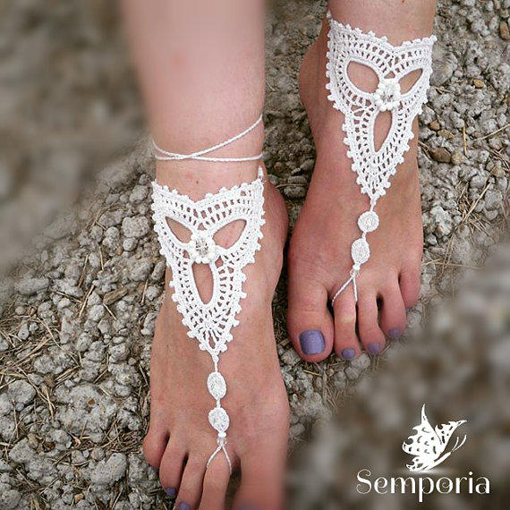 Bridal Barefoot SandalsCrochet barefoot from Semporia on Etsy