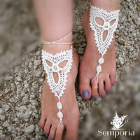 Bridal Barefoot Sandals-Crochet barefoot sandals-Bridal Foot jewelry-Beach wedding barefoot sandals-Lace shoes-Beach wedding sandals