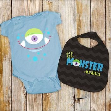 Personalized Lil' Monster Onesuit and Bib Set