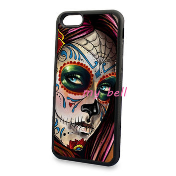 Mexican skull girl art soft hard skin cell phone cases for iPhone4s 5c 5s 6 6s 6plus 6Splus cover case