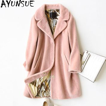 AYUNSUE 2017 Women's Real Fur Coat Wool Jackets Fashion Winter Warm Sheep Shearing Fur Long Trench Coats Hot Thick Jacket WYQ772
