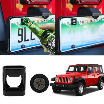 Rear License Plate Mounted Accessory fit for Jeep Wrangler JK ,TJ Models/Ford Raptor(F-150)M6 Screws Suitable Beer Bottle Opener