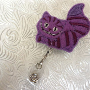 professional nursing badge holder - retractable badge holder - badge reel- name badge holder purple cat feltie applique