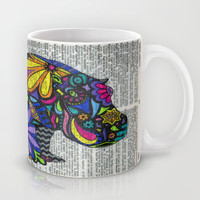 Whimsical Hippo Dancing on Words Mug by Georgie Pearl Designs | Society6