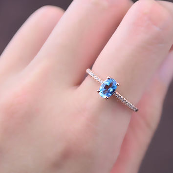 Blue Topazs Diamond Ring in 18k Rose Gold Engagement Wedding Birthday Anniversary Valentine's