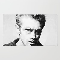 Black and white watercolor portrait Rug by Mrnobody